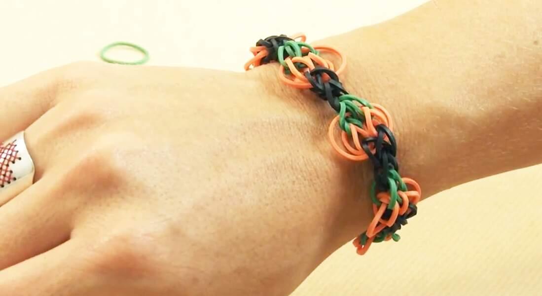Le bracelet élastiques Rainbow Loom citrouille