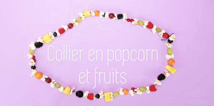 Cuisine créative : un collier de fruits et de popcorn