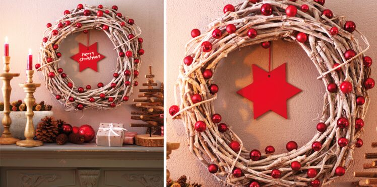 Une couronne de Noël en branches naturelles
