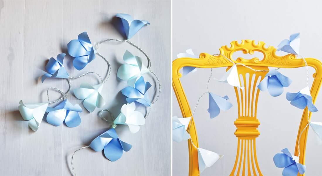 Noël : une guirlande lumineuse de fleurs en papier
