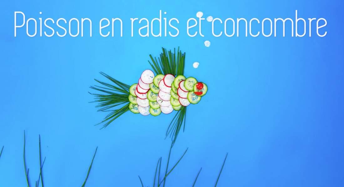 Un poisson en radis et concombre