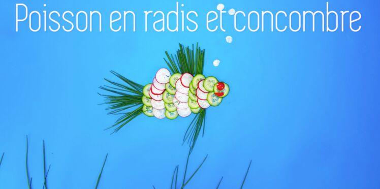 Cuisine créative : un poisson en radis et concombre
