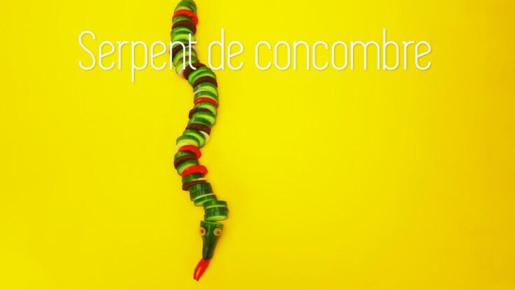 Cuisine créative : un serpent en concombre, tomates et fromage