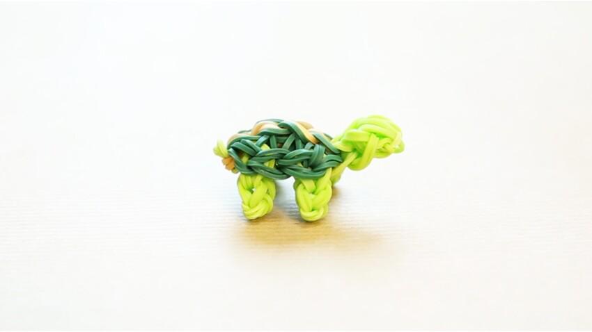 Animaux : une tortue en élastiques Rainbow Loom