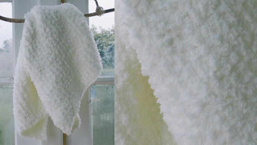 Le plaid layette blanc au point mousse