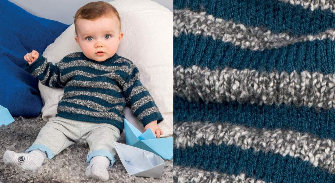 Le pull layette à rayures chinées