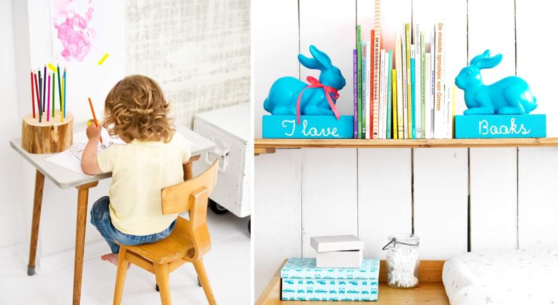 Chambres d'enfants : un coin bureau organisé