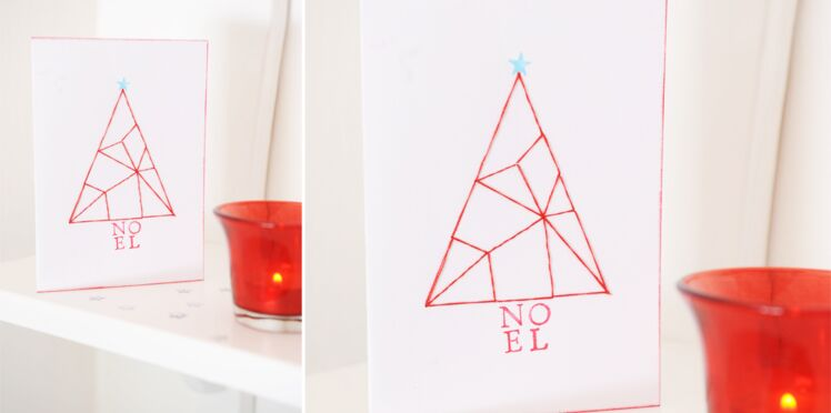 Fabriquer une carte de Noël brodée en fils tendus
