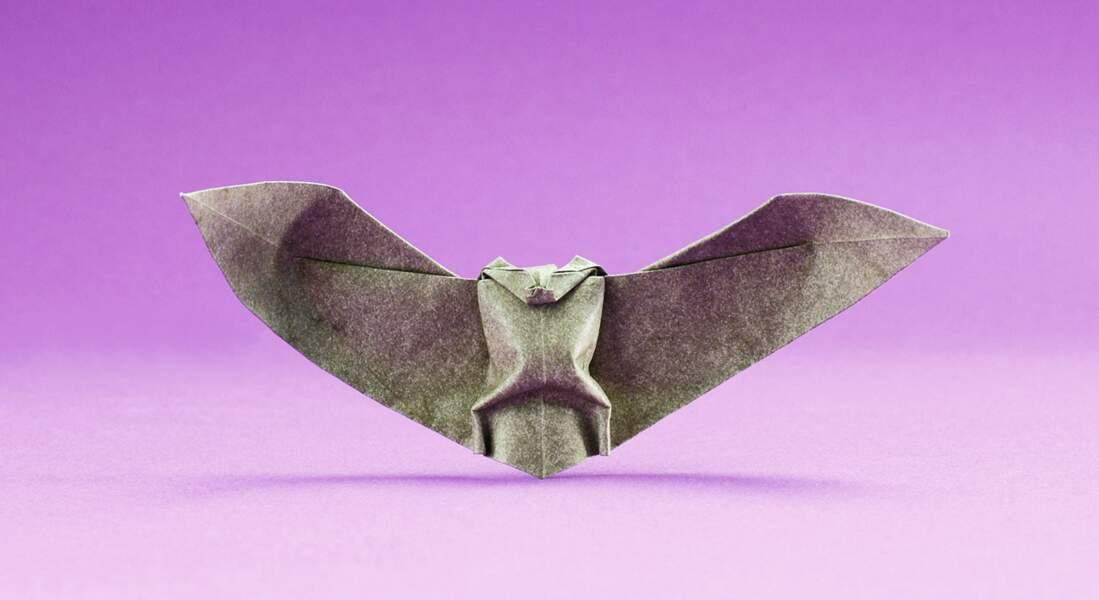 Activité manuelle d'Halloween : la chauve-souris en pliage