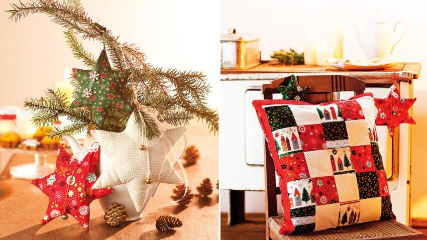 Un coussin en patchwork et des étoiles de Noël