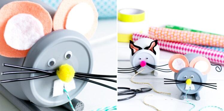 Jouet récup' : un chat et une souris à tirer