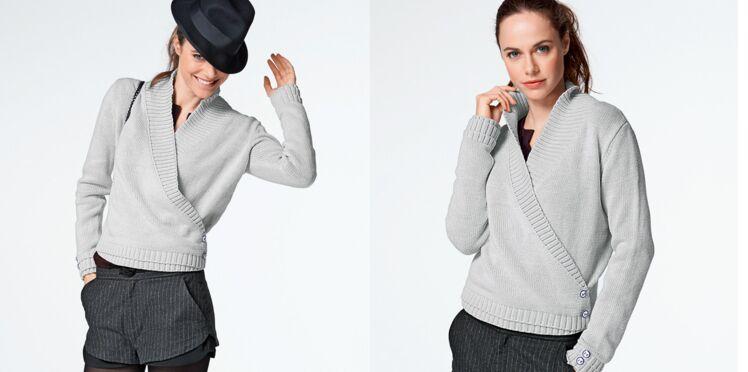 Le cache coeur tricoté en jersey gris