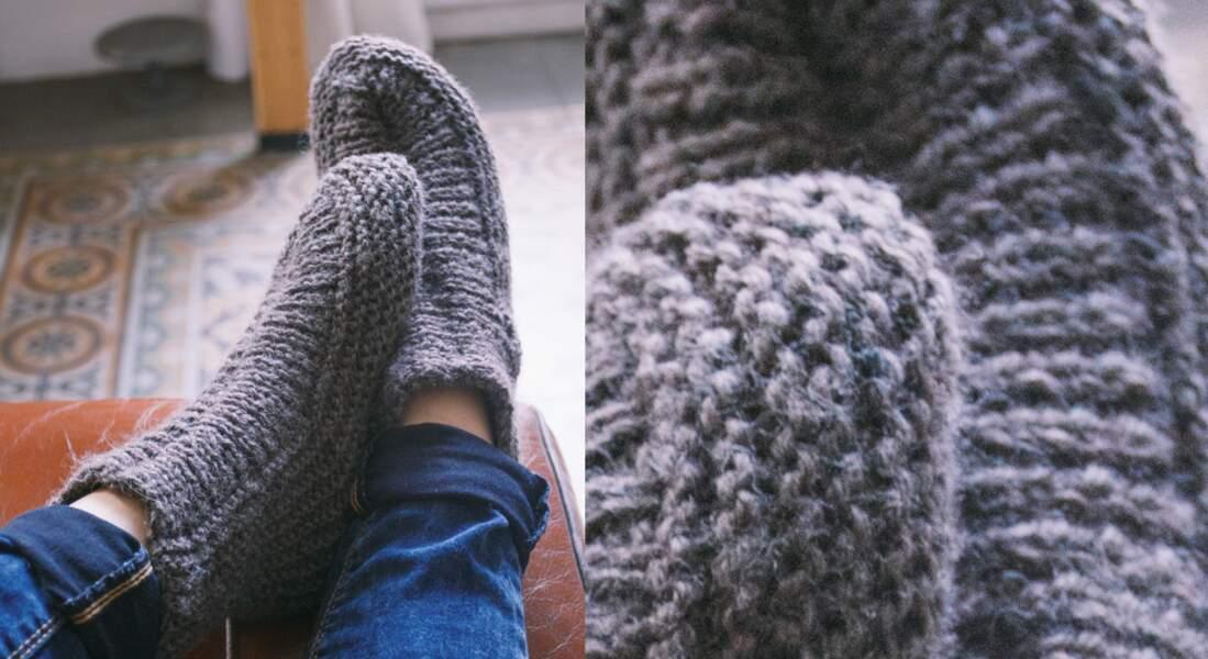 Les chaussons tricotés en côtes