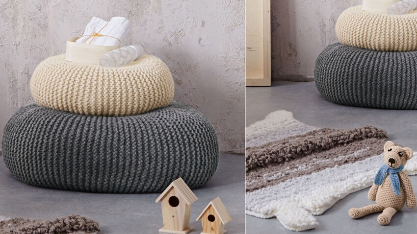 Les poufs au point mousse