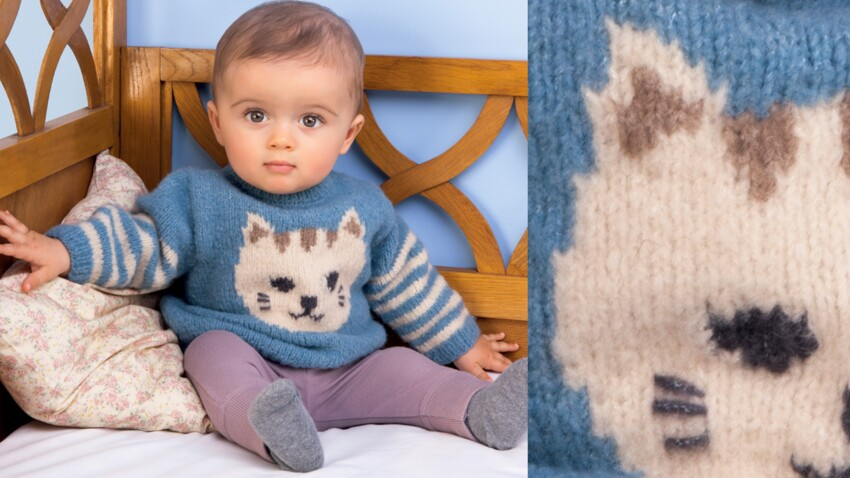 Le pull layette rayures et chat