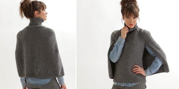Le pull cape gris