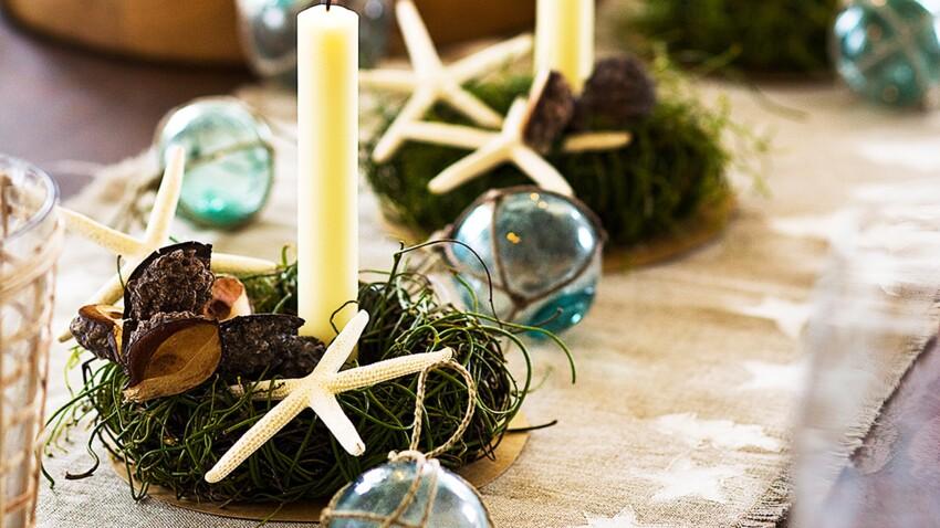 Déco de Noël : des bougeoirs végétaux