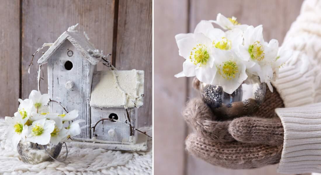 Art floral de Noël : petit bouquet d'hellébores