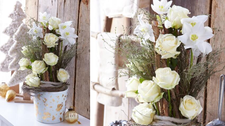 Composition florale de Noël : roses Avalanche, eucharis et thym