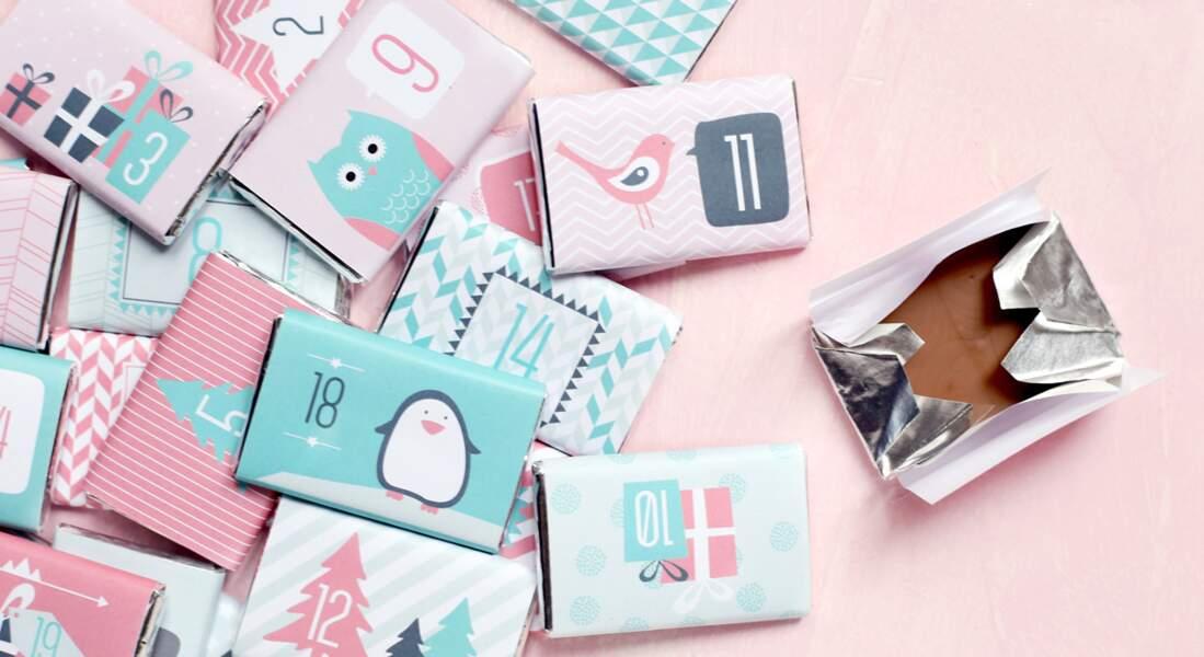 Cadeau, des étiquettes à imprimer pour un calendrier de l'Avent express