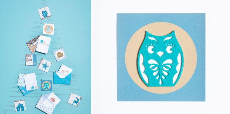 Cartes de Noël à fabriquer : la carte hibou en feutrine