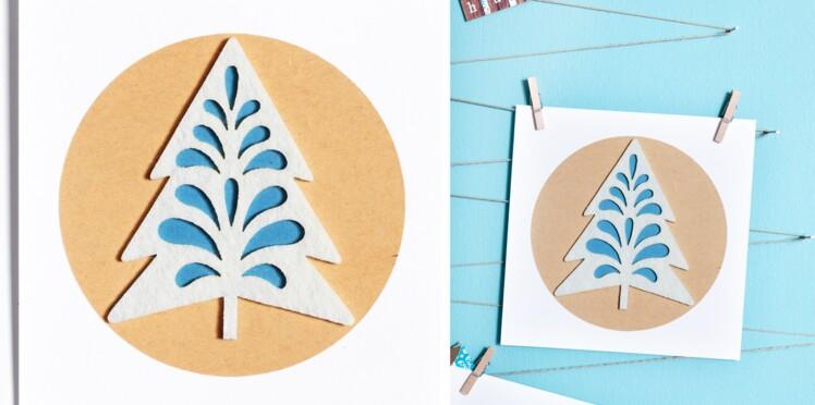 Carte de Noël à fabriquer : la carte sapin en feutrine
