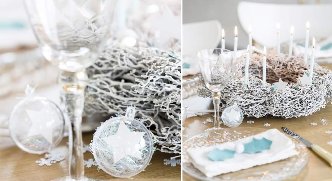 Une couronne de Noël argentée