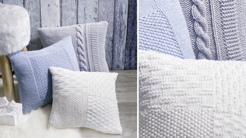 Des housses de coussin à tricoter