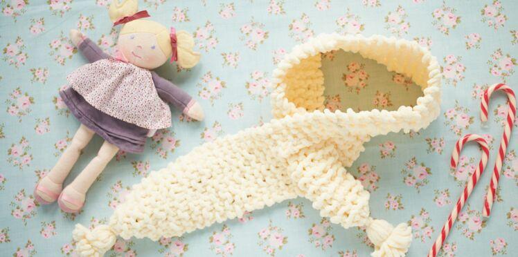Tricot : une écharpe au point mousse