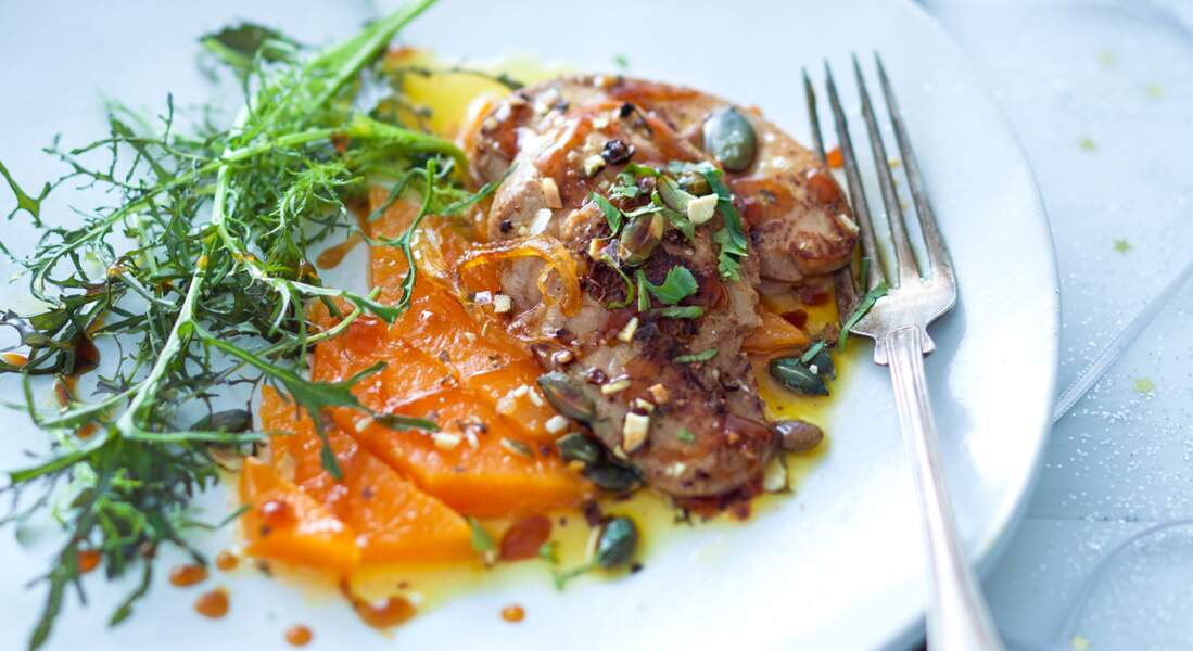 Escalope de foie gras de canard chaud, potiron confit