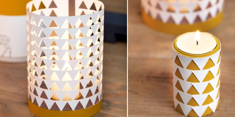 Déco de Noël : un photophore et une bougie en papier découpé