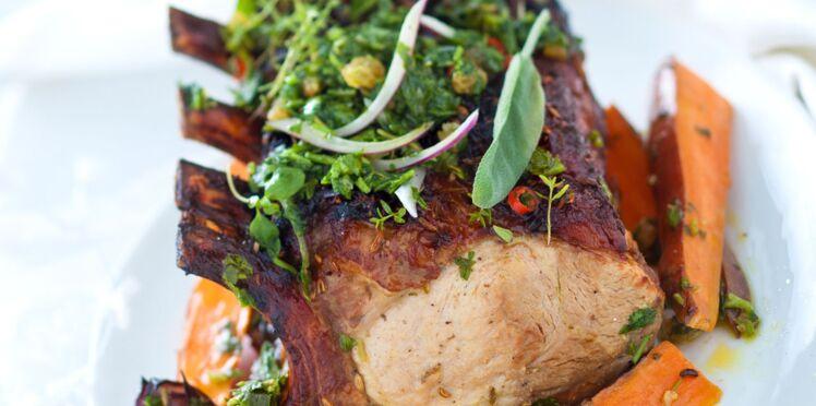 Carré de porc sauce chimichurri