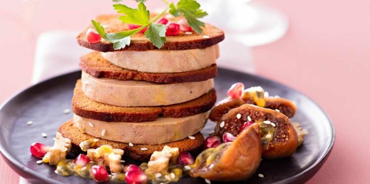 Mille-feuille de foie gras au pain d'épices, figues fondantes
