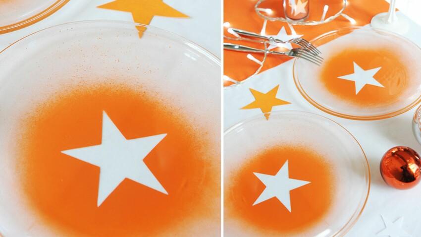 Vaisselle de Noël : des assiettes peintes au pochoir étoile