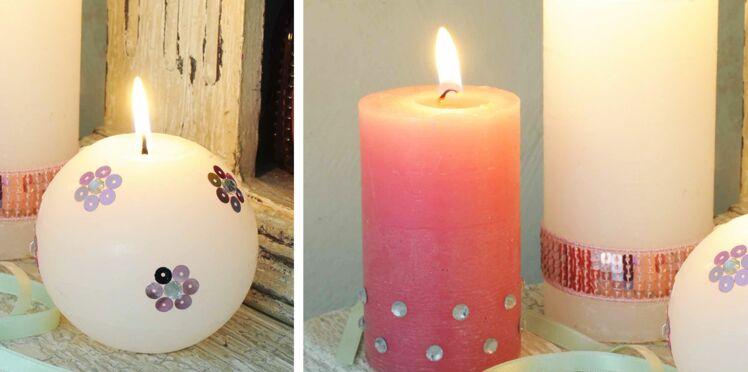 Les bougies décorées de sequins et strass