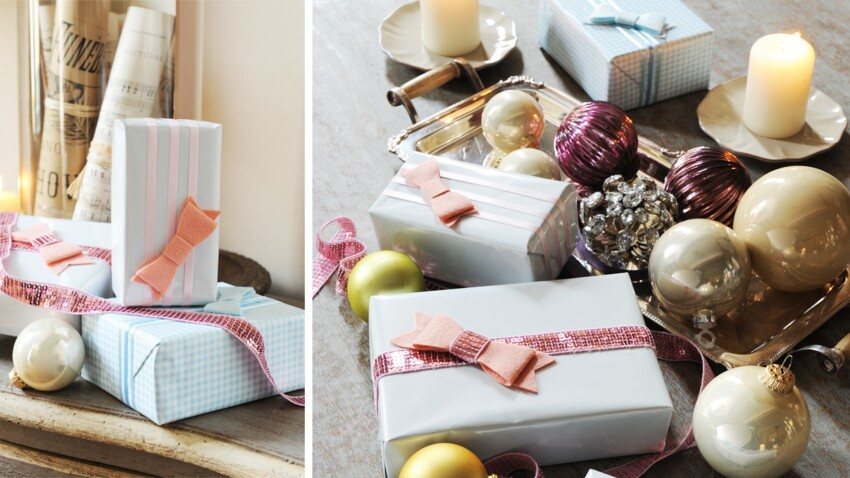 Des paquets cadeaux féeriques, sequins et feutrine