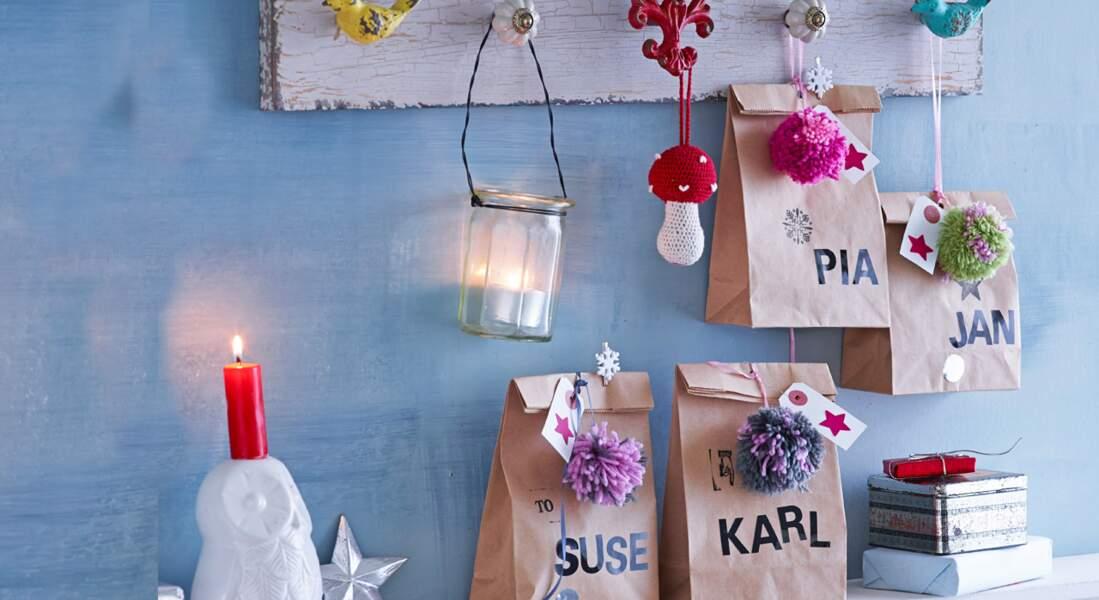Paquet cadeau de Noël express : des sachets customisés