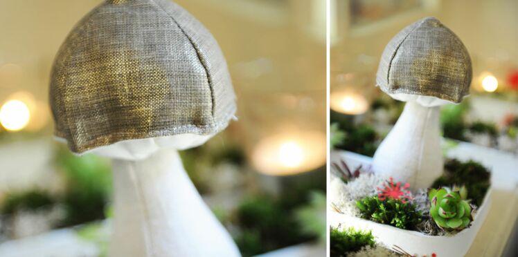 Déco de Noël végétale : le champignon en tissu