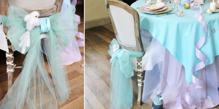 Table de Noël Cendrillon : un dos de chaise féerique en tulle