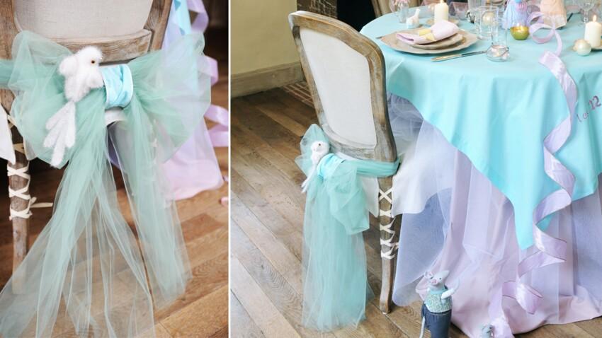 Table de Noël Cendrillon : un dos de chaise féerique en tulle