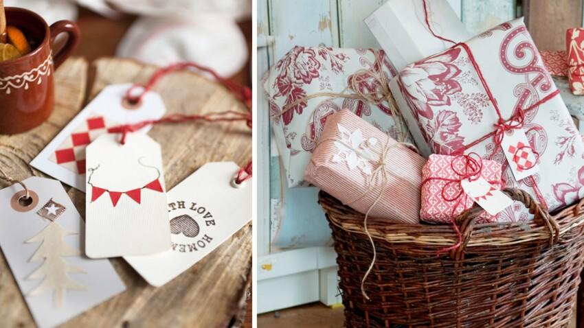 Etiquettes de Noël à fabriquer pour paquets cadeaux