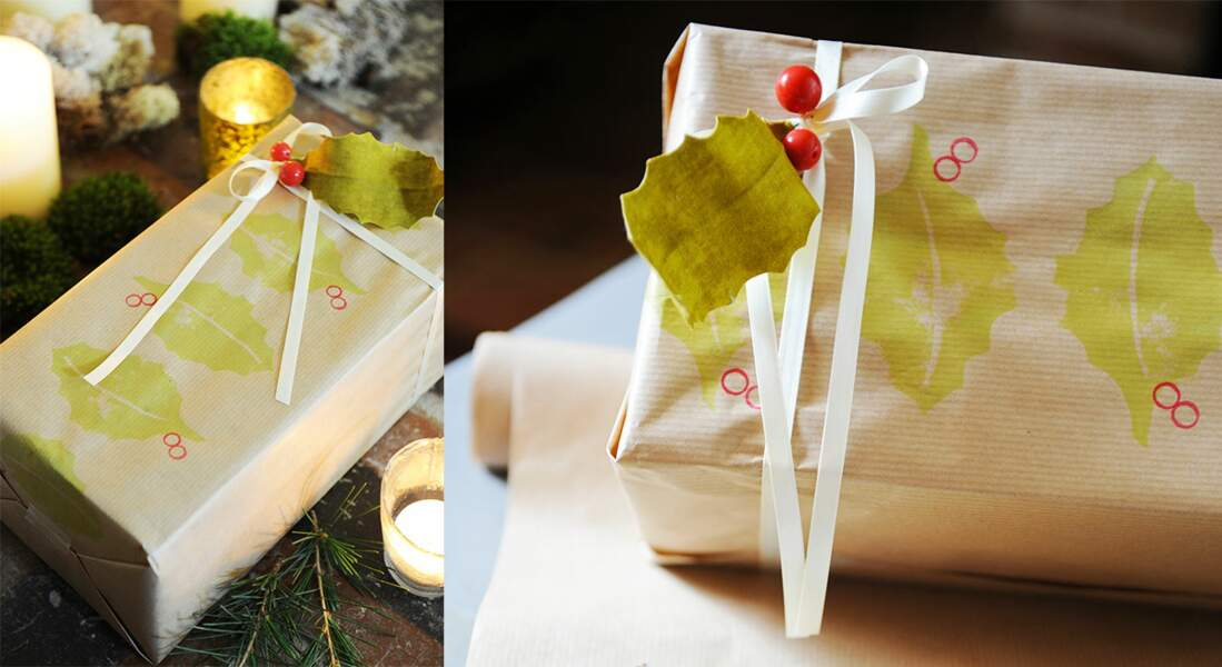 Papier cadeau imprimé feuilles fait-maison