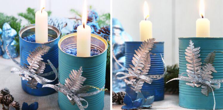 Boîte de conserve et feuilles d'argent : des bougeoirs de Noël