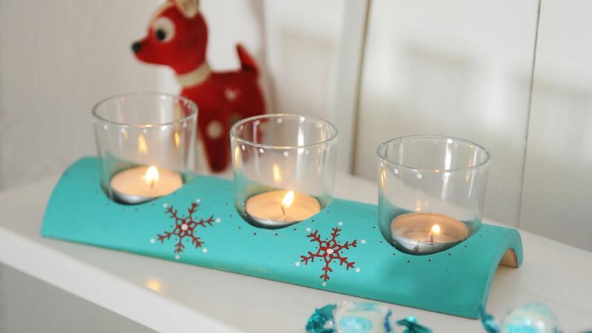 Le photophore en bois décoré pour Noël