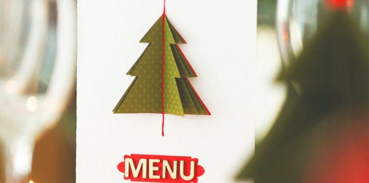 Menu de Noël : carte en pop-up