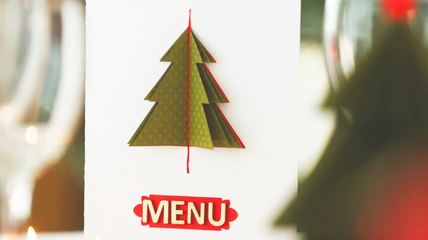 Menu de Noël : carte en pop-up
