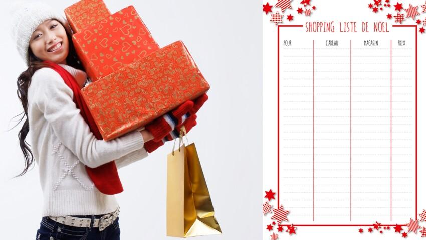 Gratuit : la shopping liste de Noël à imprimer
