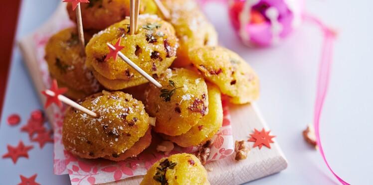 Madeleines de polenta aux noix et magret de canard
