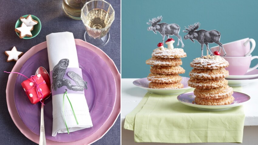 Une table de fête décorée de papier imprimé