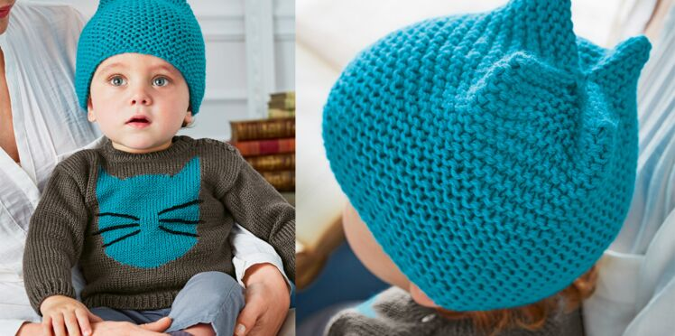 Un bonnet layette au point mousse